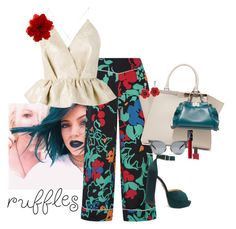 """""""ruffles"""" by claire86-c ❤ liked on Polyvore featuring RIXO London, Delpozo, Charlotte Olympia, Fendi, ncLA, Gucci, contest, ruffles, polyvorecommunity and contestentry"""