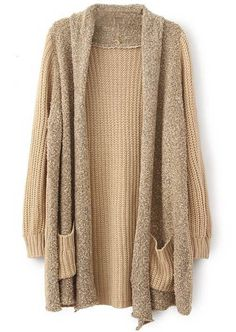 Sheinside Women's Khaki Long Sleeve Pockets Loose Cardigan Sweater at Amazon Women's Clothing store: $18 Free shipping