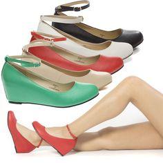 Womens Round Toe Ankle Strap Mary Jane Low Wedge Heel Ballerina Ballet Flat Pump #ChaseChloe #PlatformsWedges