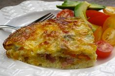delectably gluten-free: Green Chile, Egg and Ham Crustless Quiche