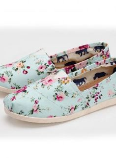 Blue Comfort - Floral Printed Flat Canvas Shoes