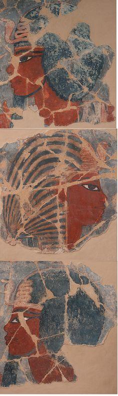 TDO 5 - Fragments peinture murale - NE XVIIIe dyn Amenhotep III (1391-1353 av. J.-C.) - Rive gauche de Louxor, Vallée de l'Ouest (près KV) - Enduit peint à la détrempe - H.25 L.25cm - Paris, mdL