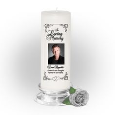 3x9 Pillar Candles : Signature Custom Memorial Pillar Photo Candle White, Unscented. Stand, optional