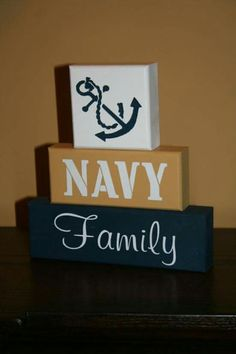 NAVY Family Military Blocks Shelf Sitter Decor painted wood sailor chief home… Navy Sister, Navy Girlfriend, Navy Mom, Military Crafts, Navy Party, Military Love, Military Signs, Military Party, See You Soon