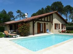 Villa & Private Pool in Attractive Village nr Beach. Traditional Landais style villa in Messanges, Aquitaine coast. 1km from a sandy surfing beach, with many sporting facilities nearby - golf, tennis, cycling, forest walks, horse riding.  #France #Aquitaine #property #villa #pool #village #coastal #traditional #coast #beaches #activities #surf #enjoy