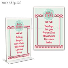 Retro Diner Menu Card for your party Print by PinkPaperTrail May be used for birthdays, baby showers, bridal showers, rockabilly party, bachelor party weddings and more!