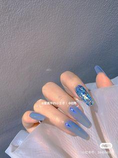 Acrylic Nails Coffin Short, Cute Acrylic Nails, Shiny Nails, Blue Nails, Nail Bags, Korean Nails, Kawaii Nails, Girls Nails, Japanese Nails