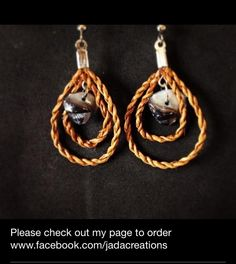 Cedar rope double teardrop earrings with black mother of shell. Size small. $25.  Cedar weaving. Handwoven from red cedar. Made by Jaimie Davis, a Gitxsan/Nisga'a artist of Northwest BC. PayPal accepted. Email jadacreations1120@gmail.com and for more info. Follow me on Instagram @jadacreations !!! LIKE me on facebook www.facebook.com/jadacreations