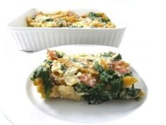 Skinny Ham, Spinach and Two-Cheese Pasta Casserole. This easy casserole is really de-licious! Each very large serving has 262 calories, 5 grams of fat and 7 Weight Watchers POINTS PLUS. http://www.skinnykitchen.com/recipes/skinny-ham-spinach-and-two-cheese-pasta-casserole/