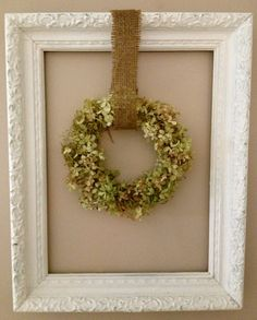 MY SUPER SIMPLE HYDRANGEA WREATH OP says:  Hi Friends.... Needed to fill the space in my wall frame for the season...I decided on a simple hydrangea wreath...and I do mean SIMPLE....these photos show the easy tutorial....