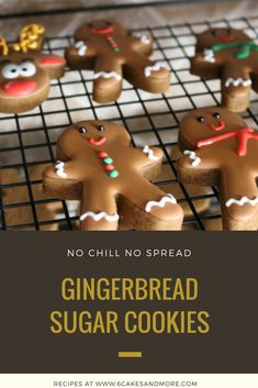 These No Chill No Spread Soft Gingerbread Cookies bake up thick, soft, and absolutely delicious! Gingerbread Sugar Cookie Recipe, Best Gingerbread Cookies, Christmas Sugar Cookies, Christmas Sweets, Sugar Cookies Recipe, Holiday Cookies, Cupcake Cookies, Christmas Baking, Cookie Recipes