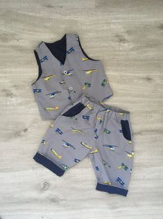 Waistcoat and Trouser Set Areoplanes and helicopters Baby First Birthday Photos, Helicopters, Baby Dress, Cute Outfits, Trousers, Trending Outfits, Etsy, Baby Boy, Stitch