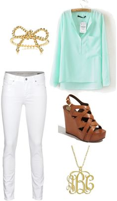 white jeans + mint top
