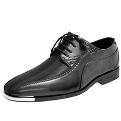 add1a8299a66 New men s dress shoes fashion satin silver tip lace up style black tone  stripes Lace