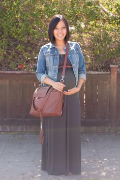 Maxi dress, jean jacket, brown tote/diaper bag Putting Me Together: The Diaper…