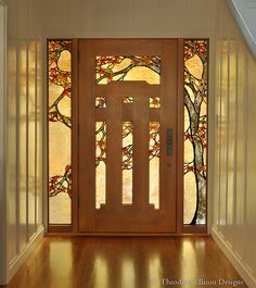 Japanese Maple stained glass entry - Theodore Ellison Designs. Door by the Craftsman Door Company http://www.craftsmandoorcompany.com