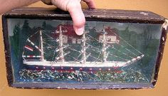ANTIQUE VICTORIAN SAILOR FOLK ART US PATRIOTIC BOXED 4 MAST SHIP DIORAMA SCENE.