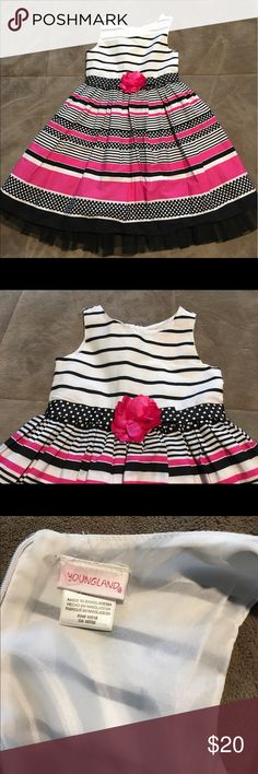 🎉SALE🎉 Youngland girls dress Youngland pink and black striped and polka fitted dress. Black tulle along bottom zipper back Youngland Dresses
