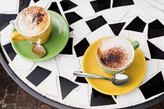 Two cappuccinos on an outdoor cafe table Cappuccinos, Outdoor Cafe, Cafe Tables, Bakery, Coffee, Tableware, Kaffee, Coffee Tables, Dinnerware