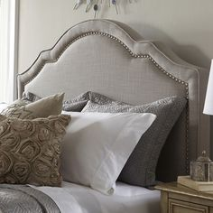 Shaped Nailhead Fabric Upholstered Bed in Taupe by PRI