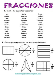 Fracciones primaria by ANA via slideshare Math Charts, Free Math Worksheets, Kindergarten Math Worksheets, Maths Puzzles, Preschool Math, Math Activities, Math Games, Math School, Math Books