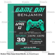 Modern Video Game Green Kids Birthday Party Invite
