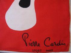 Pierre Cardin Paris Scarf Designer Red Scarf by greenleafvintage1, $32.99