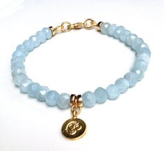 Aquamarine Bracelet Gold Vermeil OM Charm Semi Precious Gemstone Beaded Bracelet Boho Chic March Birthstone Beadwork Bracelet by loveandlulu