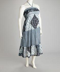Another great find on #zulily! Black & White Shirred Halter Dress - Plus #zulilyfinds