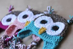Owl hats, crochet