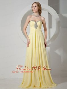 Yellow Sweetheart Beaded Chiffon Prom / Evening Dress With Brush Train For Custom Made  http://www.fashionos.com  http://www.facebook.com/quinceaneradress.fashionos.us   You will be the shinning star when you are in this floor-length orange prom dress. This stunning strapless prom dress will let you show yours off with an elegant and sophisticated style.