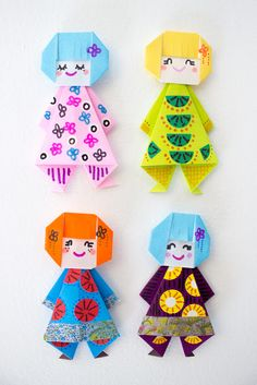 How to fold Easy, Cute, and Fun Origami Paper Doll Finger Puppets with Kids- Perfect Spring Craft! - Easy and Cute Origami Paper Dolls Instruções Origami, Cute Origami, Origami And Kirigami, Useful Origami, Paper Crafts Origami, Paper Crafts For Kids, Diy Crafts, Simple Origami, Easy Origami For Kids