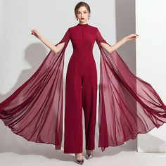 Classy Burgundy Jumpsuit 2019 High Neck Long Sleeve Ankle Length Evening Dresses Source by iveaul fashion evening Glamorous Evening Dresses, Burgundy Evening Dress, Burgundy Jumpsuit, Satin Jumpsuit, Jumpsuit Dress, Jumpsuit With Train, Formal Jumpsuit, Black Jumpsuit, Stylish Dress Designs