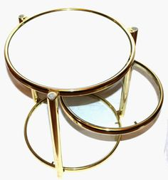 Vintage Mid Century Modern Hollywood Regency Eileen Gray Style 3 Tier Round Tubular Brass Swing Out Glass End Table