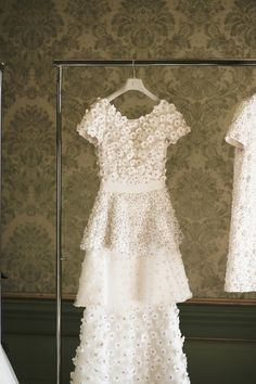 Inside Viktor & Rolf's Bridal Couture Amsterdam Atelier: Viktor & Rolf's wedding collection airs on the side of relatively affordable and seeks to modernize traditional bridal couture references. -- White wedding dress with flower petals.  | Coveteur.com