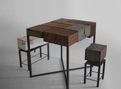 Unique Table Composed by Old Wooden Boxes – Box Sir | Home, Building, Furniture and Interior Design Ideas