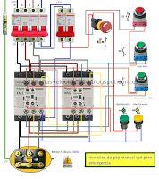 Esquemas eléctricos: Inversión de giro manual con paro rmergencia