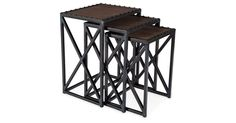 Smooth leather tabletops add sophistication to this set of iron-framed nesting tables. A striking addition to your next soirée, they'll store discreetly out of sight.Inspired by Old World treasures...
