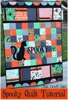 """Fun Halloween quilt made with """"Witch Hazel"""" fabric by Riley Blake."""