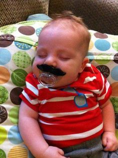 What can I say here, this is a pacifier with a built-in mustache. You will spend the next 18 years + paying for Jr, you should at least have some fun with the wee lad. Mustache Party, Movember Mustache, Baby Kids, Baby Boy, Getting Ready For Baby, Boys Life, Baby Bumps, Baby Fever, Bebe