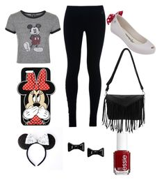 """""""minnie"""" by kamthekat101 ❤ liked on Polyvore featuring Topshop, NIKE, Melissa, Forever 21, Disney, Marc by Marc Jacobs and Essie"""