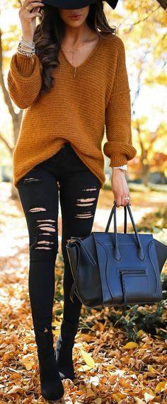#fall #outfit #ideas | Camel Knit + Black Denim #winterfashion2017