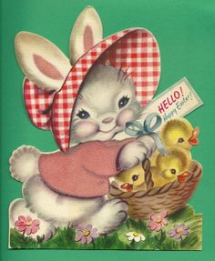 Happy Easter 1947 Stand Up Greeting Card - Bunny and Chicks - Rust Craft