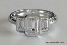 Modern Emerald Cut Ring Settings | Three Stone Engagement...