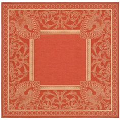 Courtyard Red/Natural 6 ft. 7 in. x 6 ft. 7 in. Indoor/Outdoor Square Area Rug
