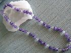 """NEW NATURAL PURPLE AMETHYST & CLEAR QUARTZ CRYSTAL BEADED 20"""" NECKLACE"""
