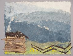 Mountain Cabin Handmade Paper Pulp Painting by Oakmother on Etsy. , via Etsy.