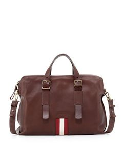 Leather Stripe Business Bag, Brown by Bally at Neiman Marcus.