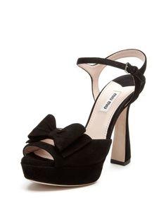 Suede Peep-Toe Bow Sandal by Miu Miu