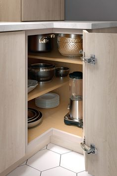 The Base Easy Reach Cabinet does quite simply what the name would suggest. Easily reach a variety of items with the innovative criss-cross shelves. Kitchen Pantry Design, Diy Kitchen Storage, Modern Kitchen Cabinets, Modern Kitchen Design, Home Decor Kitchen, Interior Design Kitchen, Home Kitchens, Refacing Kitchen Cabinets, Corner Shelves Kitchen